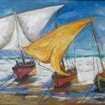 Gestrandete Boote (2019, 110 x 120 cm, Öl auf Leinwand)