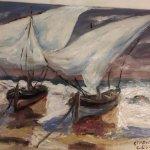 Boote am Strand (2015, Studie, 20 x 30 cm, Öl auf Pappe)