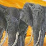 Elefanten, Juli 2016, 170 x 200 cm, Öl auf Leinwand