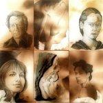 Portraitstudien (braun und schwarz, 2000 - 2008, 50 * 60)