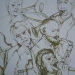 Musiker (2010, 120 x 130 cm)